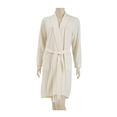 100% Cashmere Bathrobe Size: Large, Color: Ivory