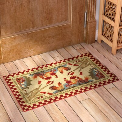 Beauchesne Rooster Checker Kitchen Mat Rug Size: 16 x 27