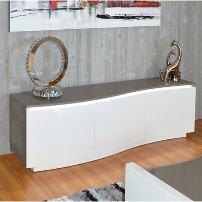 Denby 69 TV Stand with LED Light Color: White Lacquer/Gray