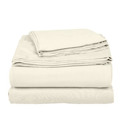 Geoffrey 100% Cotton Jersey Bed Sheet Set Color: Ivory, Size: Twin