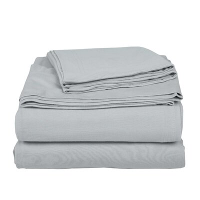 Geoffrey 100% Cotton Jersey Bed Sheet Set Color: Silver, Size: Twin XL