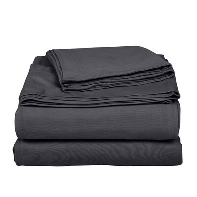 Geoffrey 100% Cotton Jersey Bed Sheet Set Color: Dark Gray, Size: California King