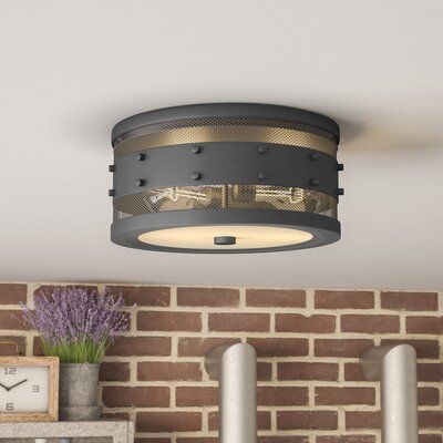 Denver 2-Light Flush Mount Finish: Oil Rubbed Bronze, Size: 5.5 H x 11 W x 11 D