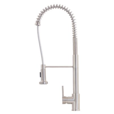 Commercial Style Pull Out Single Handle Kitchen Faucet Finish: Brushed Nickel