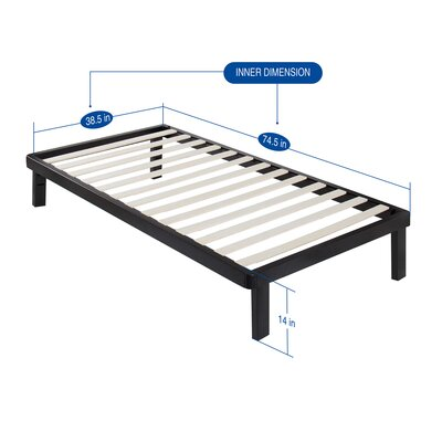 Yetter Metal Wood Slat Bed Frame Size: Twin