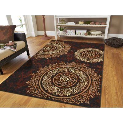 Markenfield Contemporary Modern Circles Brown/Beige Indoor/Outdoor Area Rug Rug Size: Rectangle 5 x 8