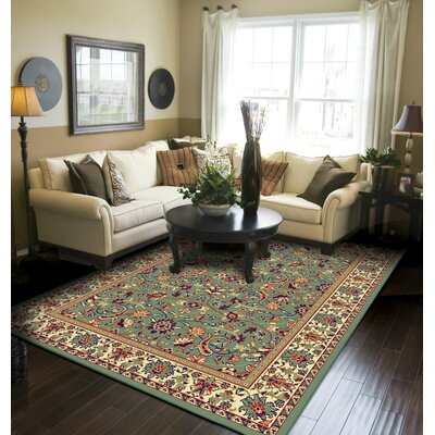Kulick Oriental Green Indoor/Outdoor Area Rug Rug Size: Rectangle 5 x 8
