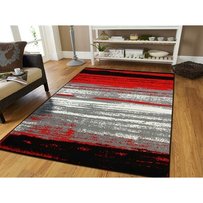 Grieco Contemporary Red/Black Indoor/Outdoor Area Rug Rug Size: Runner 2 x 8