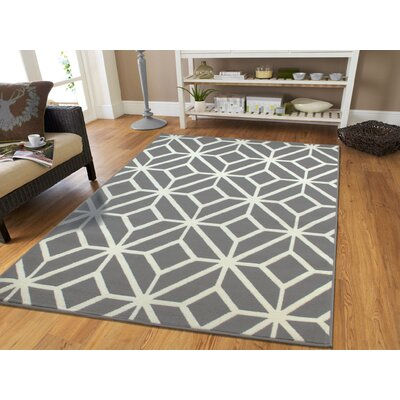 Pleione Grey/White Indoor/Outdoor Area Rug Rug Size: Rectangle 8 x 11