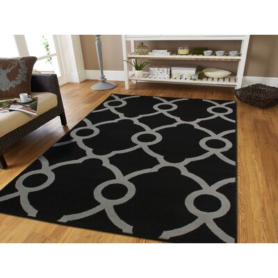 Brookdale Modern Gray/Black Indoor/Outdoor Area Rug Rug Size: Runner 2 x 8