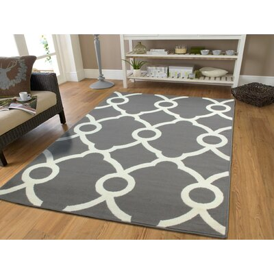 Brookdale Modern Moroccan White/Gray Indoor/Outdoor Area Rug Rug Size: Rectangle 5 x 8