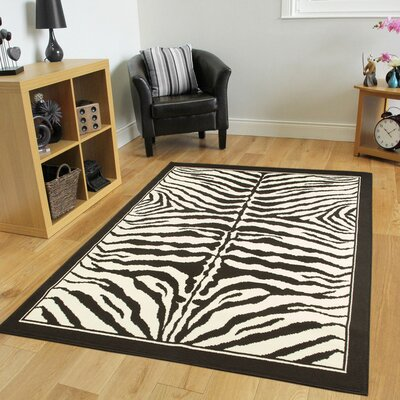 Marlow Zebra Print Black/White Indoor/Outdoor Area Rug Rug Size: Runner 2 x 8