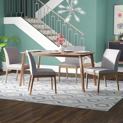 Tunis 5 Piece Dining Set Table Finish: Natural Walnut, Chair Finish: Dark Gray