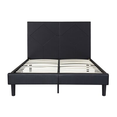 Strickler Faux Leather Platform Bed Frame Size: Queen