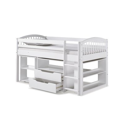 Junior Twin Loft Bed with Storage Drawer Bed Frame Color: White
