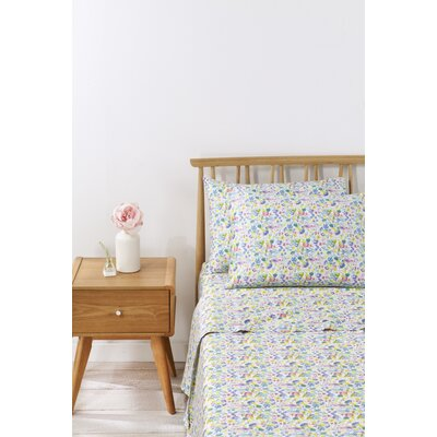 Eden Floral 100% Cotton Sheet Set Size: Queen