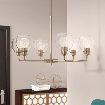 Maria 6-Light Shaded Chandelier Finish: Aged Brass
