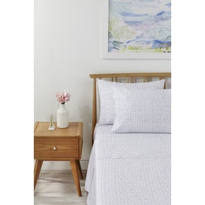 Ava Printed 230 Thread Count 100% Cotton Sheet Set Size: Full, Color: Heather