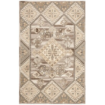 Hopeworth Hand-Woven Wool Beige/Gray Area Rug Rug Size: Rectangular 4 x 6