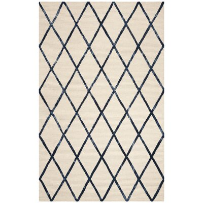 Oon Hand-Woven Wool Ivory/Navy Area Rug Rug Size: Square 6