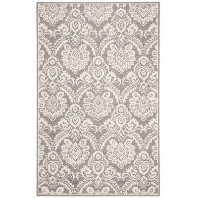 Deidamia Hand-Woven Wool Silver/Ivory Area Rug Rug Size: Square 6