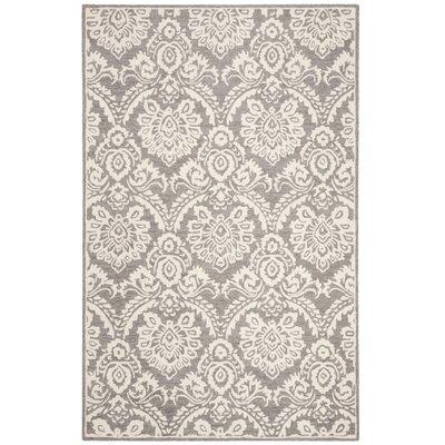 Deidamia Hand-Woven Wool Silver/Ivory Area Rug Rug Size: Rectangular 8 x 10