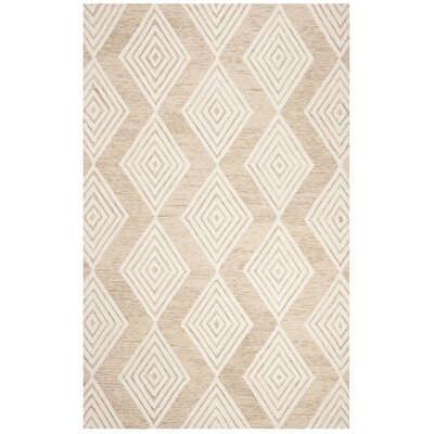 Pizano Hand-Woven Wool Beige/Ivory Area Rug Rug Size: Round 6