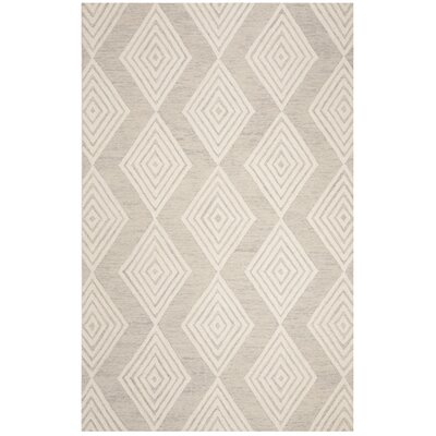 Pizano Hand-Woven Wool Cream/Silver Area Rug Rug Size: Rectangular 8 x 10