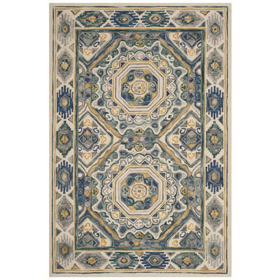 Maravilla Hand-Woven Wool Ivory/Taupe Area Rug Rug Size: Rectangular 4 x 6