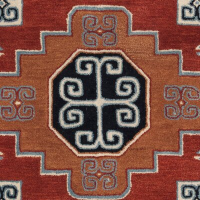 Mar Vista Hand-Woven Wool Red/Orange Area Rug Rug Size: Square 6