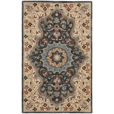 Kuhlman Hand-Woven Wool Cream/Black Area Rug Rug Size: Square 6
