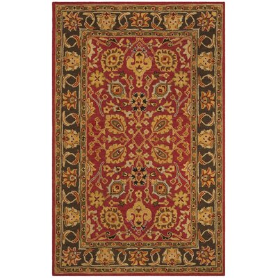 Kuhlman Hand-Woven Wool Red/Gold Area Rug Rug Size: Round 6