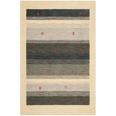 Labbe Hand-Woven Wool Cream/Gray Area Rug Rug Size: Square 6