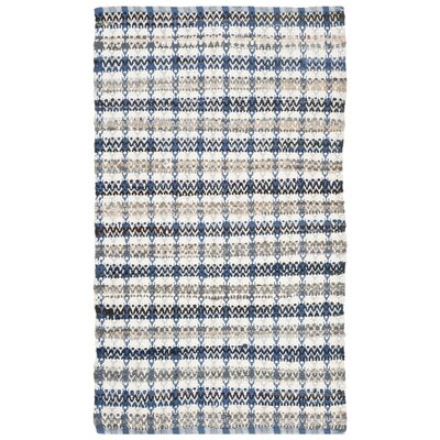 Bester Hand-Woven Cotton Blue/White Area Rug Rug Size: Rectangular 26 x 4