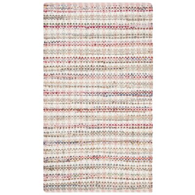 Bester Hand-Woven Cotton Pink/White Area Rug Rug Size: Square 6