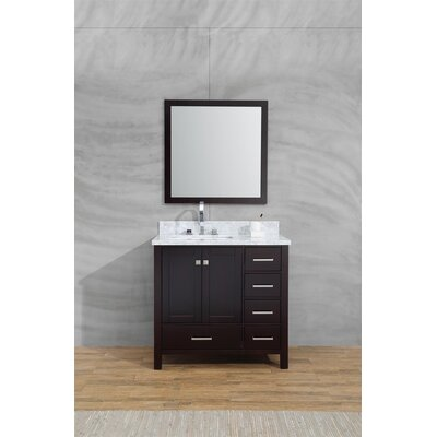 Harewood 37 Single Bathroom Vanity Set with Mirror Base Finish: Espresso