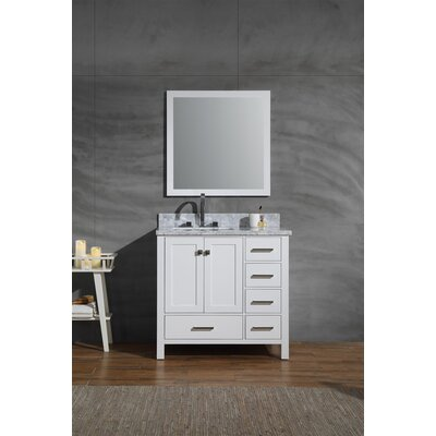 Harewood 37 Single Bathroom Vanity Set with Mirror Base Finish: White
