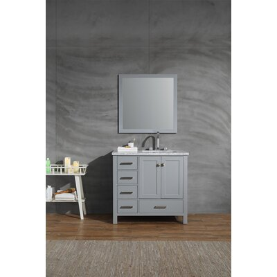 Harewood 37 Single Bathroom Vanity Set with Mirror Base Finish: Gray