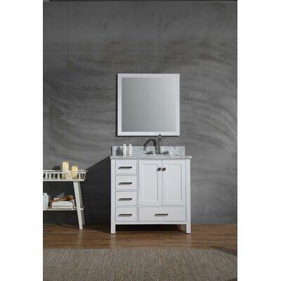 Harewood 37 Single Bathroom Vanity Set with Mirror Base Finish: White