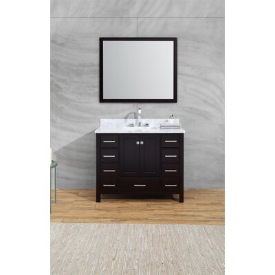 Harewood 43 Single Bathroom Vanity Set with Mirror Base Finish: Espresso
