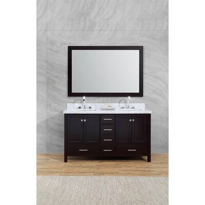Harewood 61 Double Bathroom Vanity Set with Mirror Base Finish: Espresso