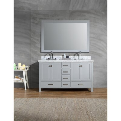 Harewood 61 Double Bathroom Vanity Set with Mirror Base Finish: Gray