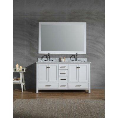 Harewood 61 Double Bathroom Vanity Set with Mirror Base Finish: White