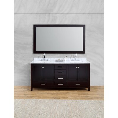 Harewood 73 Double Bathroom Vanity Set with Mirror Base Finish: Espresso