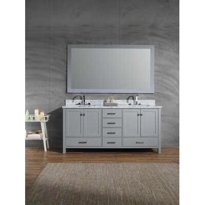Harewood 73 Double Bathroom Vanity Set with Mirror Base Finish: Gray