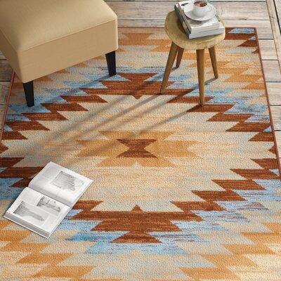 Binstead Southwestern Blue Area Rug Rug Size: 53 x 73