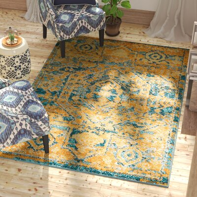 Shez Teal/Sun Indoor Area Rug Rug Size: 53 x 73