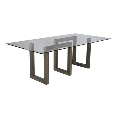 Ressa Glass Dining Table Base Color: Nantucket, Size: 29 H x 84 W x 44 D