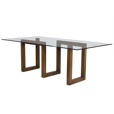 Ressa Glass Dining Table Base Color: Walnut, Size: 29 H x 84 W x 44 D