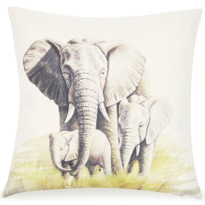 Lootens Mommy and Baby Elephant Throw Pillow